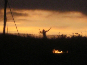 Red Darth dance at sunset. Wolstonbury Hill.